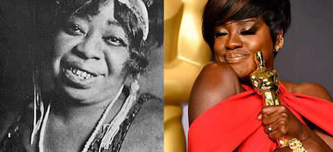 Ma Rainey. Black and photo of middle-aged Black woman wearing headdress. Split: Viola Davis. Black woman wearing red dress with short black hair holding an Oscar award.