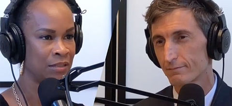 """The State of Working America Podcast."""" Black woman wearing headphones with hair in high bun and Latinx man wearing head phones with short with short light curly hair."""