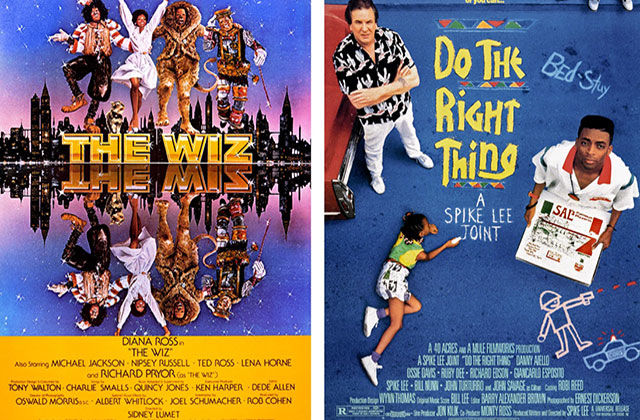"Movie posters for ""The Wiz"" and ""Do the Right Thing"""