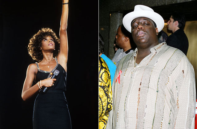 Whitney Houston and The Notorious B.I.G. Black woman in black dress raises hand to sky, Black man in white hat and button-down shirt.