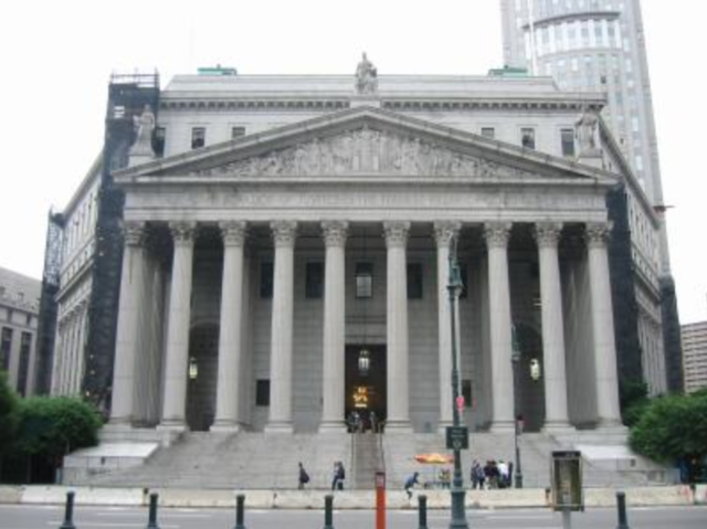grand building with long steps, columns, new york state supreme court building in Manhattan
