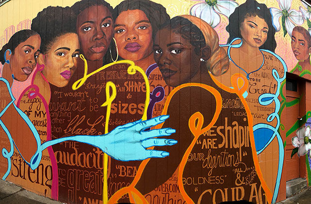 Brown Girl Narratives. Colorful mural featuring images of seven different Black women.