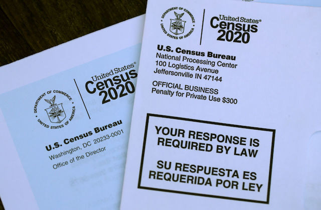 Close-up image of Unites States Census 2020 forms.