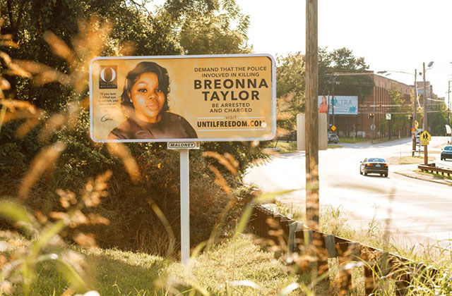 Breonna Taylor. Street ad with a photo of Breonna Taylor, a Black woman killed by police.