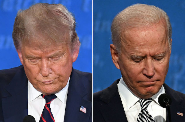 Close-up images of Donald Trump and Joe Biden