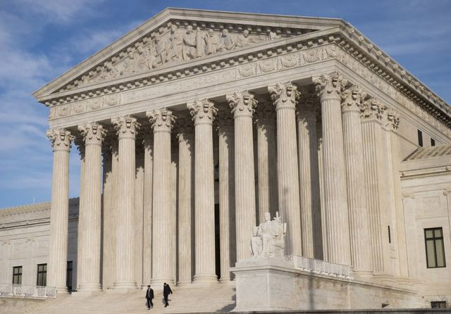 A close-up image of the U.S. Supreme Court building.