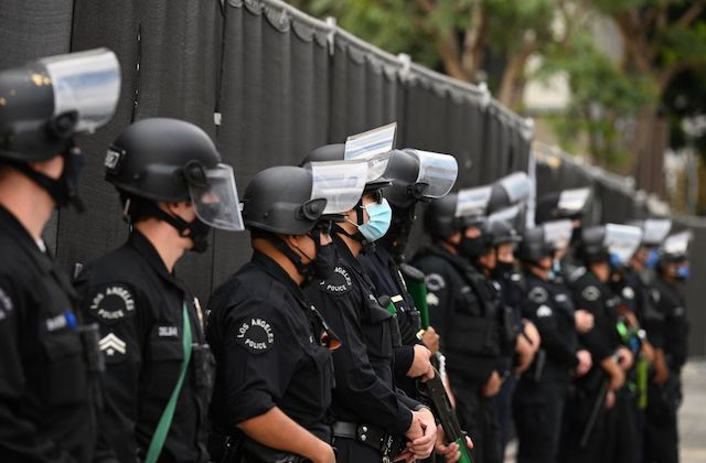 A large group of police officers in riot gear stand in a long line against a black fence.