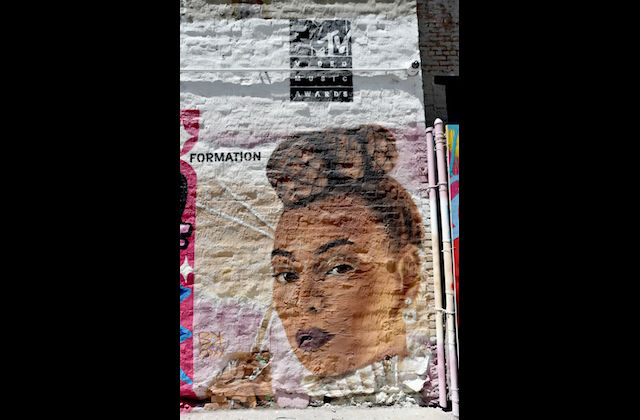 Beyoncé mural with white background