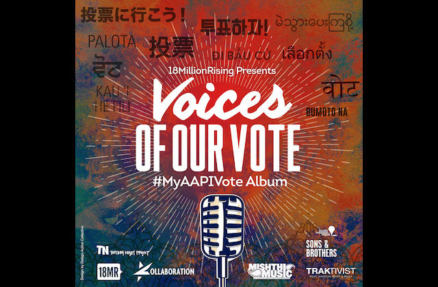 """Voices of Our Vote"" album cover with black and white text, black and white microphone image against green and red background"