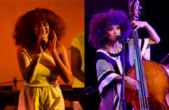 Black woman holding black microphone in white outfit in front of orange-lit background; Black woman playing brown upright bass