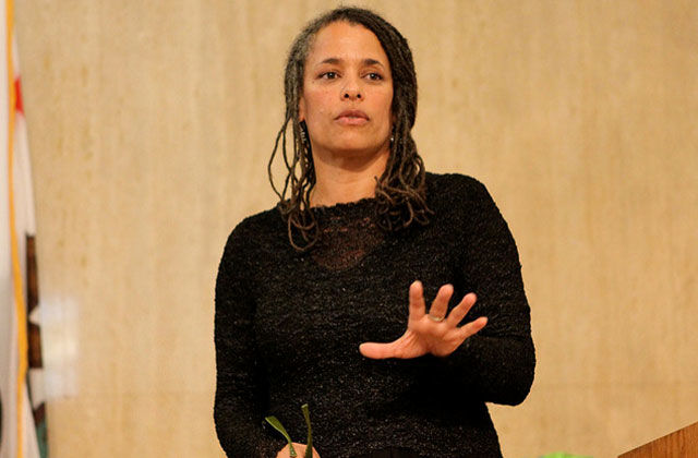 "Carolyn Kinney speaks about her book, ""Black Faces, White Spaces: African Americans and the Great Outdoors,"" on April 12, 2012, at the University of San Francisco in California."