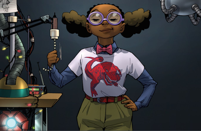 Illustration of Black girl in white t-shirt with red dinosaur and navy undershirt and red bowtie and green pants in front of dark grey wall with grey metal mechanical arm and multicolored scientific devices