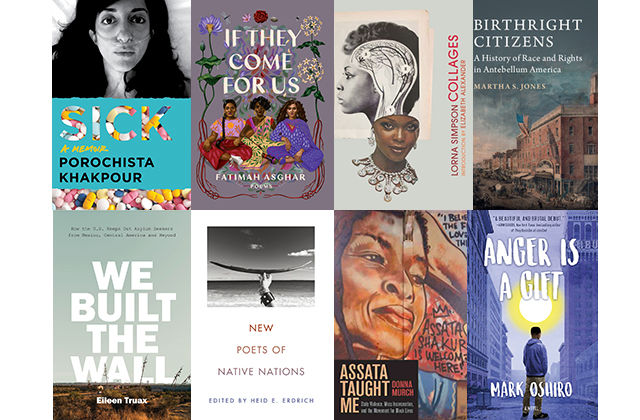 "A grid of summer books with titles like ""sick,"" ""if they come for us,"" ""we built the wall,"" ""assata taught me,"" and more"
