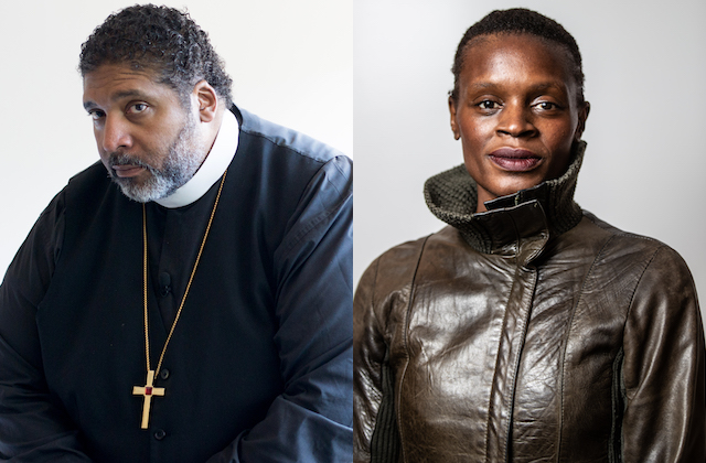 The Reverend Dr. William Barber and Okwui Okpokwasili. Black man in black and purple clerical robes in front of white background; Black woman in green jacket in front of grey background