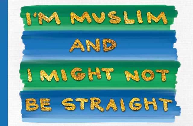 "Gold text reading ""I""M MUSLIM AND I MIGHT NOT BE STRAIGHT"" on green and blue paint bars on grey background with blue bar on left side"