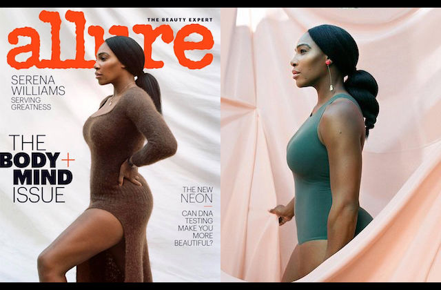 "Serena Williams. Black woman poses in brown dress in front of grey sheet and red text spelling ""ALLURE"" and black text spelling ""THE BODY + MIND ISSUE""; Black woman in green athletic outfit surrounded by coral sheet"
