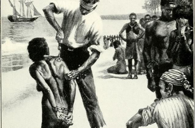 A White man brands an enslaved African woman