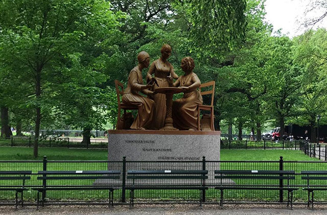 Monumental Women Suffragist statue: Sojourner Truth, Susan B. Anthony and Elizabeth Cady Stanton in bronze.
