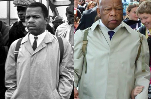 """John Lewis recreates Selma March in """"official outfit."""