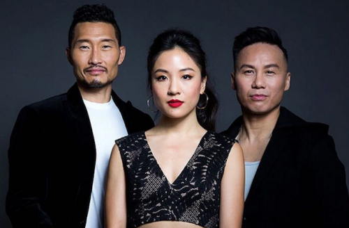 Left to right: Daniel Dae Kim in black jacket, Constance Wu in black top and B.D. Wong in black jacket