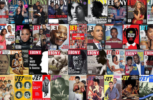 Ebony and Jet magazine covers in rows