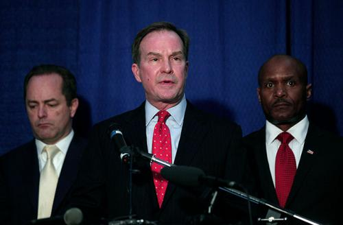 Michigan Attorney General Bill Schuette announced 13 felony charges and five misdemeanor charges against two state officials and one city official in the City of Flint's lead water contamination crises April 20, 2016, in Flint, Michigan.