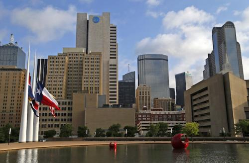 Dallas skyline with blue sky in background