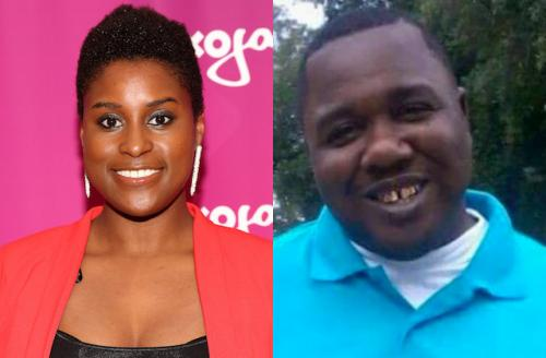 Issa Rae in black shirt and red sweater; Alton Sterling in light blue collared shirt