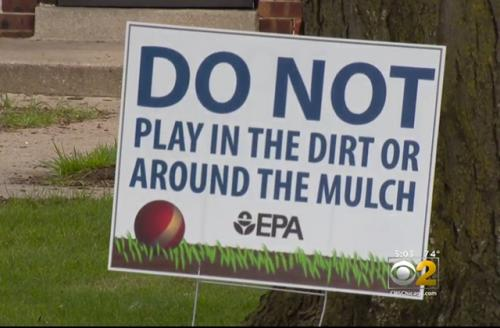 Colorlines screen shot of a sign on an East Chicago yard warning residents of the soil from a CBS Chicago video, taken on August 16, 2016.