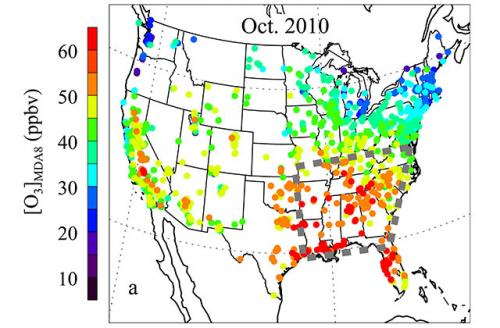 f3ddc13ae937 This map shows monthly mean ozone levels for the United States in October  2010. Red