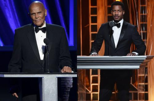 Harry Belafonte in black tuxedo with blue background; Nate Parker in black tuxedo with orange background