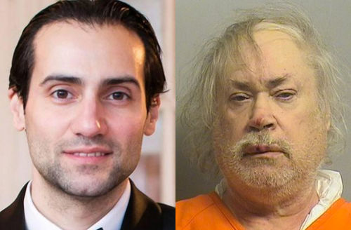 Khalid Jabara in black tuxedo with white shirt, Stanley Majors in orange jumpsuit