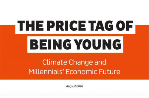 """Colorlines screen shot of the report, """"The Price Tag of Being Young: Climate Change and Millennials' Economic Future,"""" taken on August 25, 2016."""