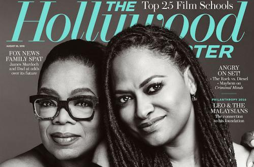 Two Black women hug on the cover of a magazine
