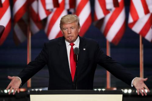 Standing on the Republican National Convention stage, Donald Trump grimaces