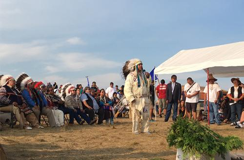 JoDe Goudy, chairman of Yakama Nation, stand before tribes on August 30, 2016, in Cannon Ball, North Dakota.