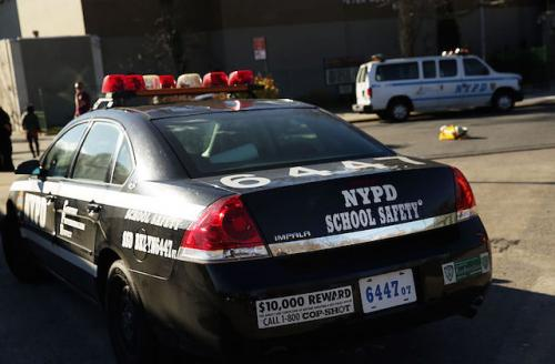 """Black police car reads """"NYPD School Safety"""""""