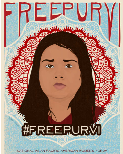 Red and blue illustration of Purvi Patel