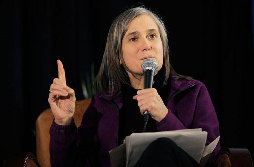 Journalist Amy Goodman speaks at the Cinema Cafe 7 at Filmmaker Lodge during the 2011 Sundance Film Festival on January 27, 2011 in Park City, Utah. Rioting charges against her were dropped today in North Dakota.