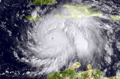 This NOAA image shows Hurricane Matthew in the Caribbean Sea heading toward Jamaica, Haiti and Cuba on October 3, 2016. The hurricane killed at least 1,000 in Haiti, some estimates show.