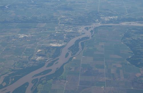 An aerial view of the Mississippi River as it runs through Muscatine County, Iowa. Mississippi Stand was created to protect the river from the Dakota Access Pipeline, which is set to run underneath it.