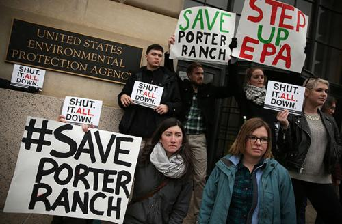 On January 15, 2016, in Washington, DC, activists urged the EPA to shut down Southern California Gas Company's Aliso Canyon storage facility for sickening residents in Porter Ranch, California.