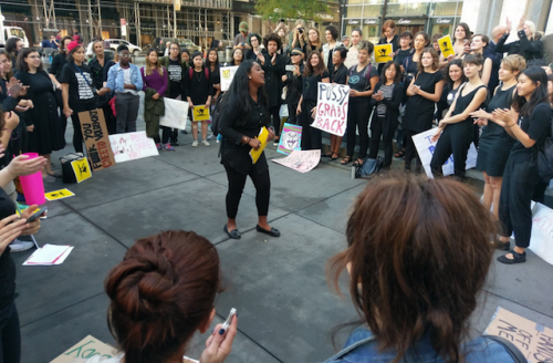 Women in protest circle
