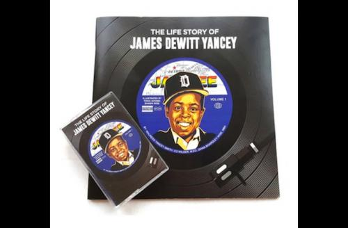 Young Black man in black baseball hat against blue inset background and black record art