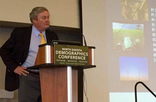 North Dakota Gov. Jack Dalrymple speaks at the first annual Demographics Conference in Bismarck, North Dakota, on the state's diversified economy and how it is managing the fluctuations in the energy and agriculture industries.