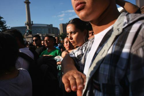 A crowd of people at a Mexican Independence Day celebration where the Democratic and Republican parties courted Latinx voters