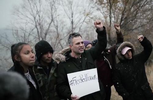 In a video by Fusion, actor Mark Ruffalo stands with other water protectors calling for the release of Red Fawn Fallis.