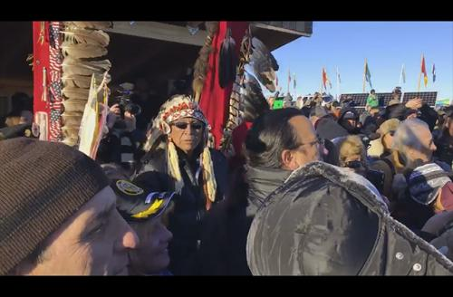 Water protectors celebrate the announcement that the Army Crops of Engineers denied the easement to cross their sacred land and water on December 4, 2016,
