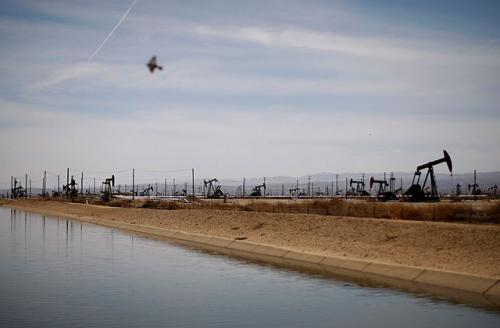 A swallows flies over a canal in an oil field over the Monterey Shale formation where gas and oil extraction using hydraulic fracturing, or fracking, is on the verge of a boom on March 23, 2014, near Lost Hills, California.
