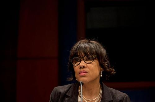 """Flint, Michigan Mayor Karen Weaver testifies before the House Democratic Steering & Policy Committee at a hearing titled, """"The Flint Water Crisis: Lessons for Protecting America's Children"""" at the Capitol on February 10, 2016, in Washington, D.C."""